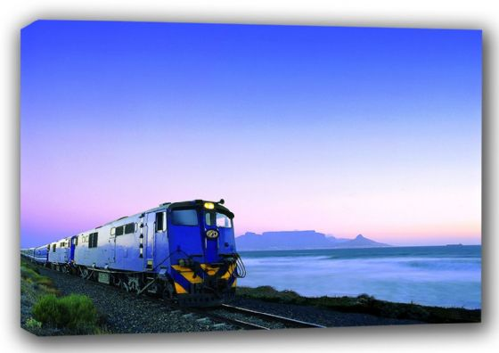 South African Blue Train with Table Mountain at Sunset Canvas. Sizes: A3/A2/A1 (001054)